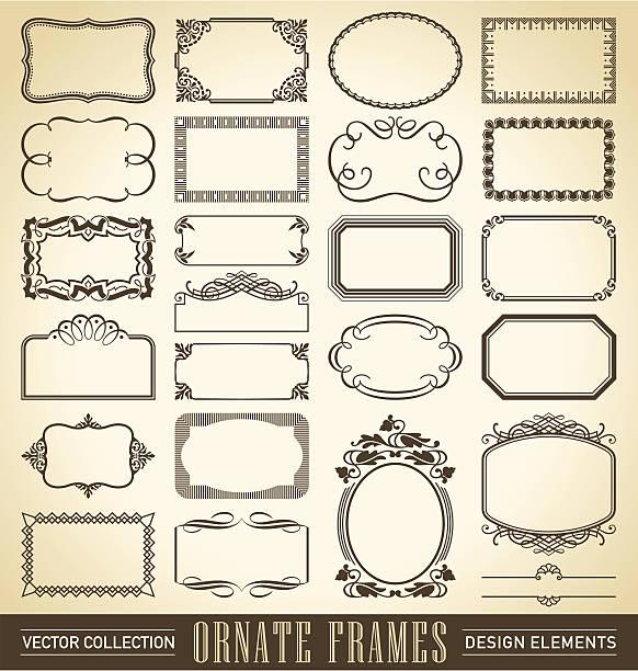 vintage ornate frames set (vector) set of 24 vintage frames and panels in various antique styles, vector (eps8) 1900 stock illustrations
