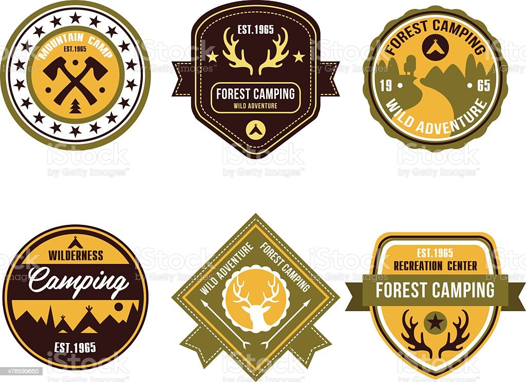 Vintage Outdoor Camp Badges And Logo Emblems Stock