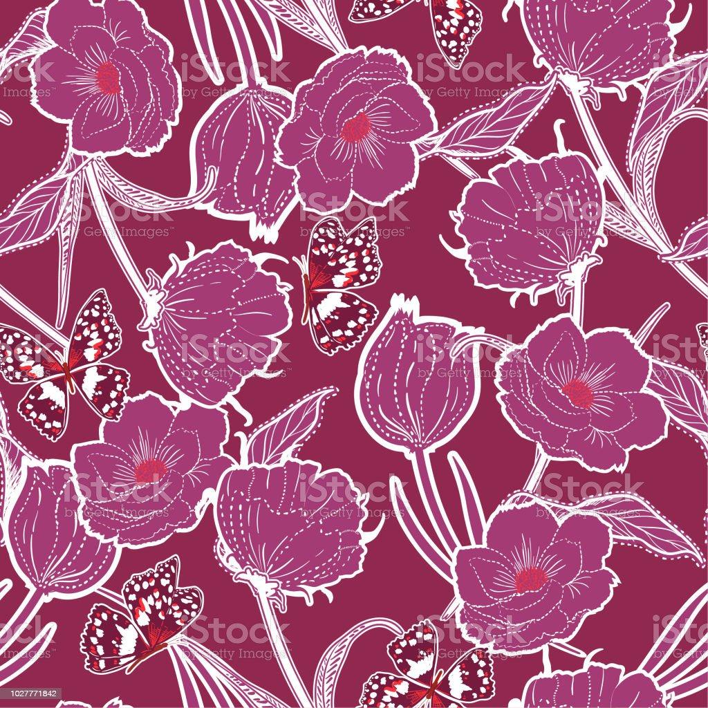 Esquema Vintage graden dibujado en el tablero la mano botánicas flores de color azul oscuros con las mariposas, diseño de moda, tela, papel pintado y todas las impresiones - ilustración de arte vectorial