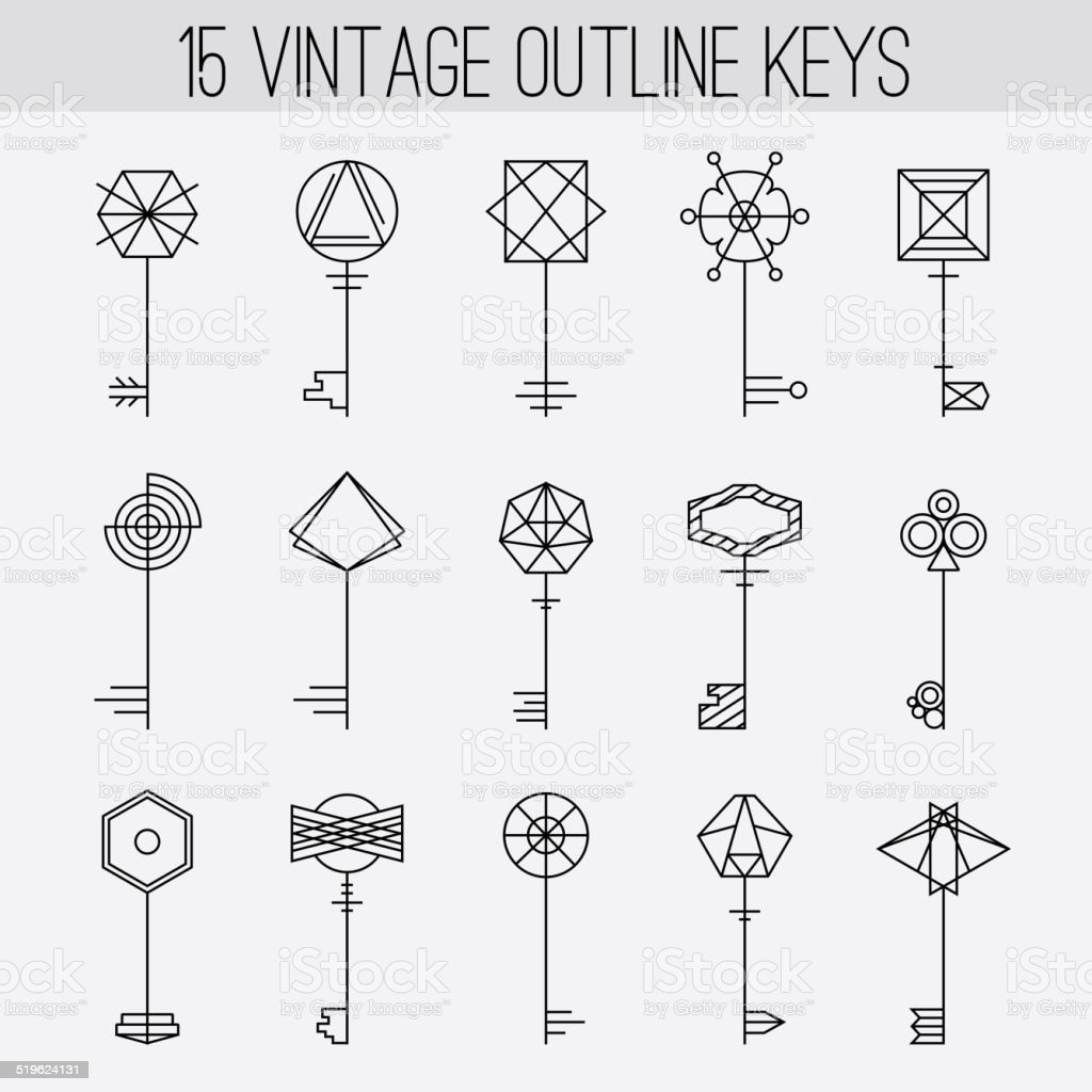 Vintage Outline Keys Set Retro Icons Logo Elements Collection Royalty Free