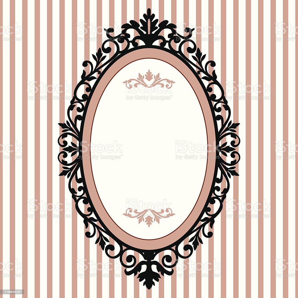 Vintage Oval Frame With White And Pink Striped Background Royalty Free