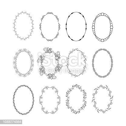Vintage oval hand drawn frames set, vector isolated design elements.