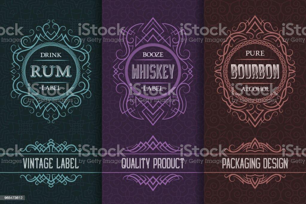 Vintage packaging design set with alcohol drink labels of rum, whiskey, bourbon. vector art illustration