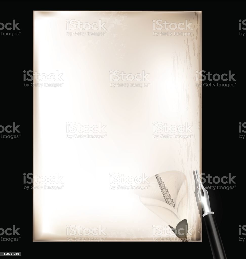 vintage page and silver pen vector art illustration