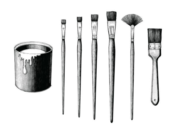 Vintage paint brushes set and paint can hand drawing clip art isolated on white background Vintage paint brushes set and paint can hand drawing clip art isolated on white background paint can stock illustrations