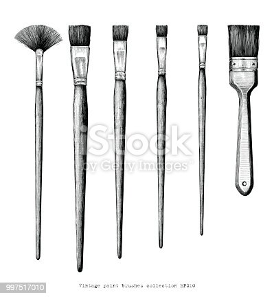 Vintage paint brushes set hand drawing clip art isolated on white background