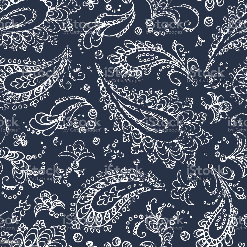 Vintage paisley ornament - seamless pattern. vector art illustration