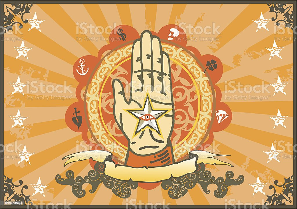vintage palm reading sign royalty-free stock vector art