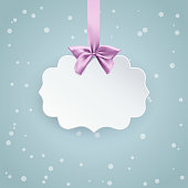 Vintage paper 3D banner with pink bow and ribbon on the soft winter background with falling snow. Holiday greeting card with label. Minimal and clean design. Vector.