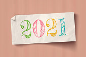 Vector vintage white paper on vintage cardboard background with text 2021. Vintage paper banner for Christmas or New year 2021