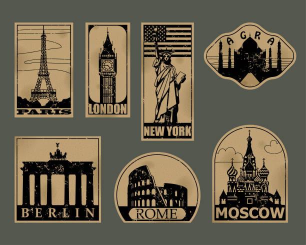 Vintage-Papier Sehenswürdigkeiten Reisen Etiketten – Vektorgrafik