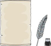 vintage paper notebook and  feather pen hand drawn vector art illustration