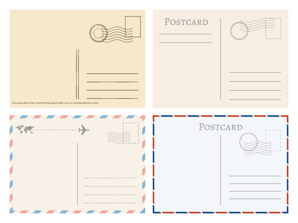 Vintage paper postal cards. Greetings from postcard vector template vector art illustration