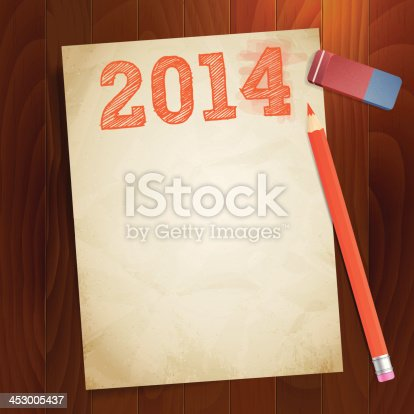istock vintage paper width 2014 new year 453005437