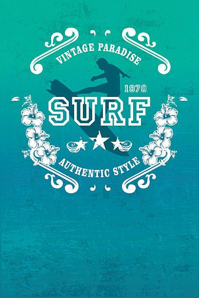 vintage-Paradies poster mit Surfen Fahrer springen – Vektorgrafik