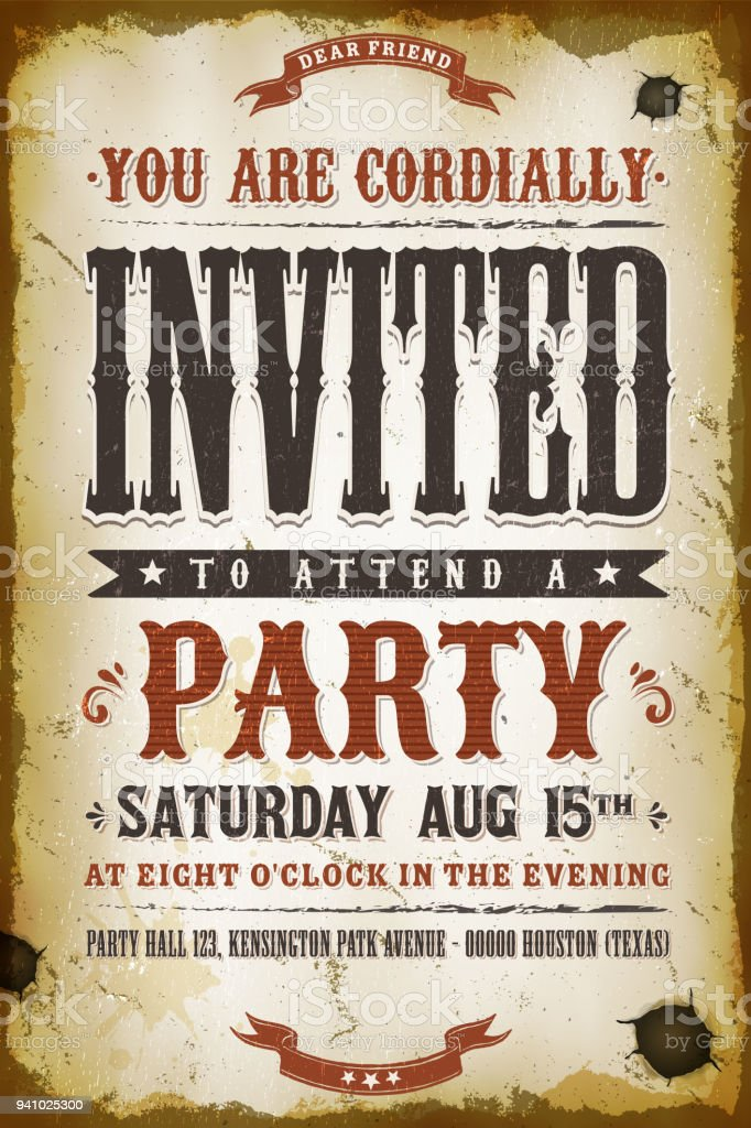Vintage Party Invitation Background Stock Vector Art & More Images ...