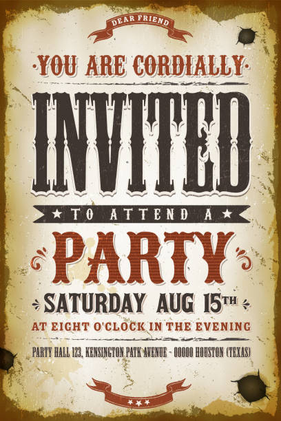 Vintage Party Invitation Background Illustration of a vintage old western placard poster, with invitation text and decoration elements, grunge textures and scratched effects wild west stock illustrations