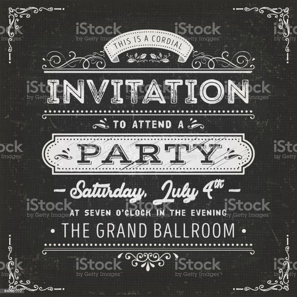 Vintage Party Invitation Card On Chalkboard royalty-free vintage party invitation card on chalkboard stock illustration - download image now