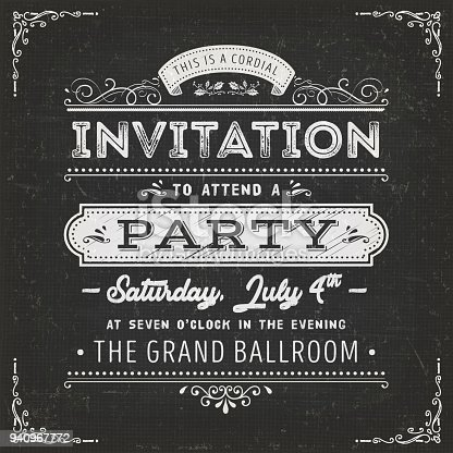 Illustration of a vintage fabric textured poster with invitation message to a party, with floral patterns and hand-drawned corners on chalkboard background