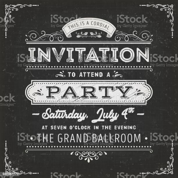 Vintage party invitation card on chalkboard vector id940967772?b=1&k=6&m=940967772&s=612x612&h=p czgma4uxrzfjw8r3a7swbr4zbcu4aazxghymbxdic=