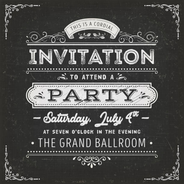 vintage party invitation card on chalkboard - retro and vintage frames stock illustrations, clip art, cartoons, & icons