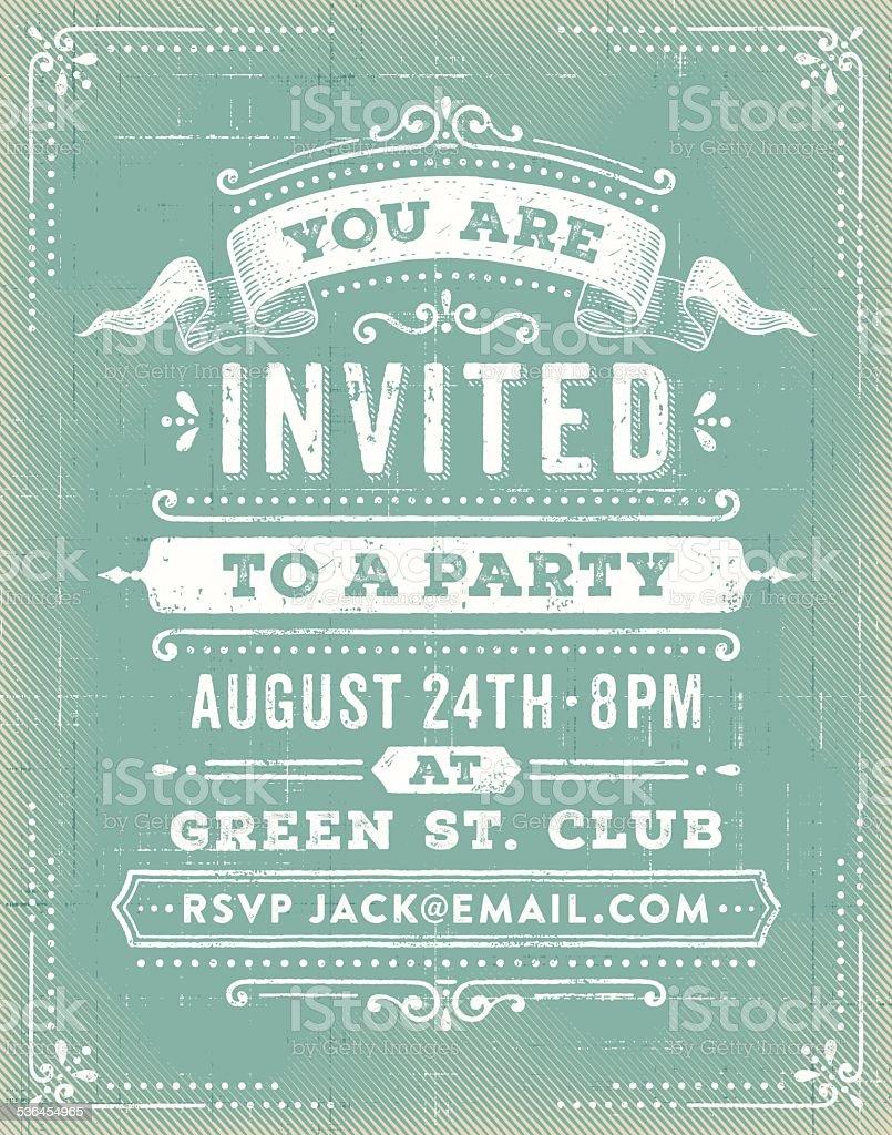 Vintage Party Invitation vector art illustration