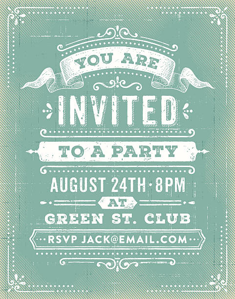 vintage party invitation - retro and vintage frames stock illustrations, clip art, cartoons, & icons