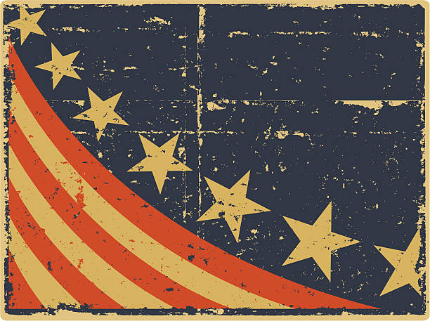 Vintage Patriotic Flag Editable vector file. ai8 eps and 300 dpi jpg files included. distressed american flag stock illustrations