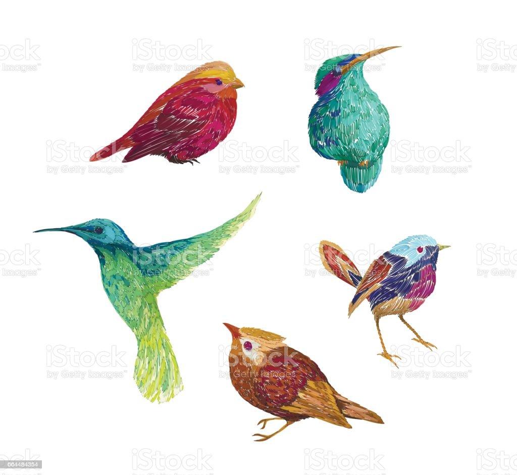 Vintage pattern birds, isolated on background. векторная иллюстрация