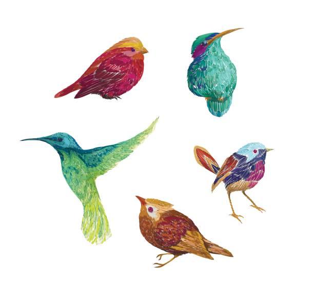 ビンテージ パターン鳥、背景に分離されました。 - 鳥点のイラスト素材/クリップアート素材/マンガ素材/アイコン素材