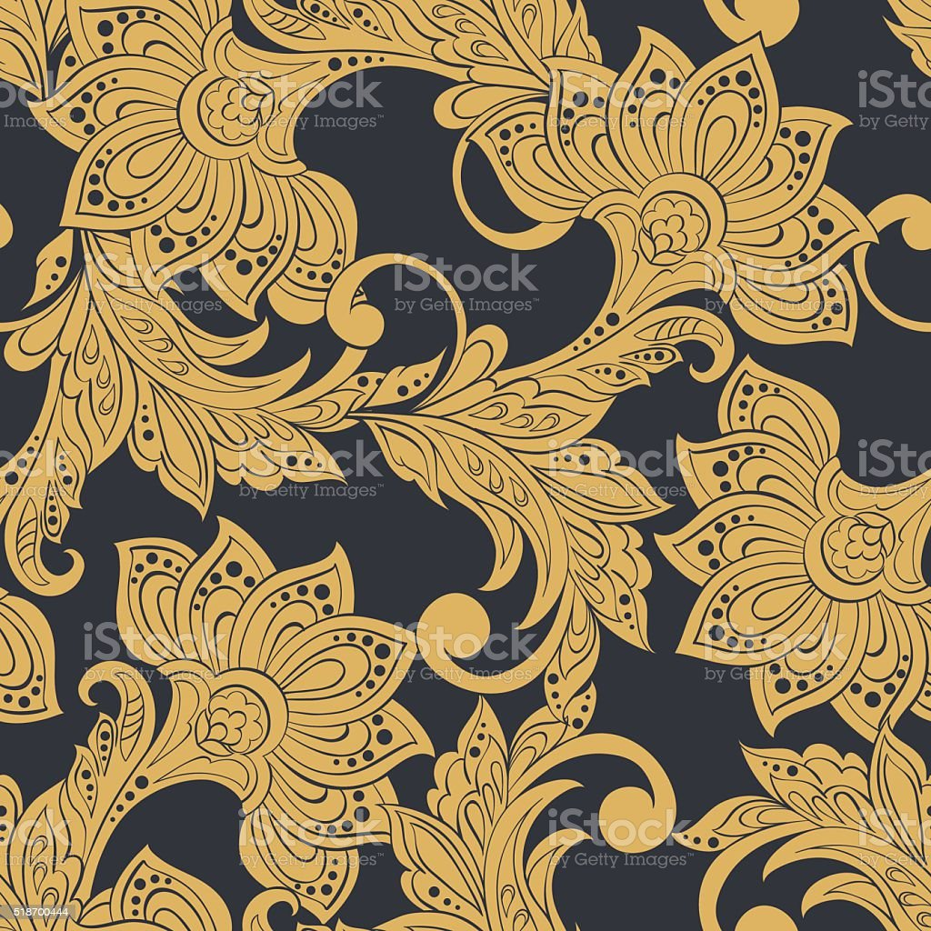 vintage pattern in indian batik style floral vector background stock illustration download image now istock 2