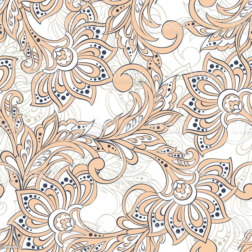 Vintage Pattern In Indian Batik Style Floral Vector