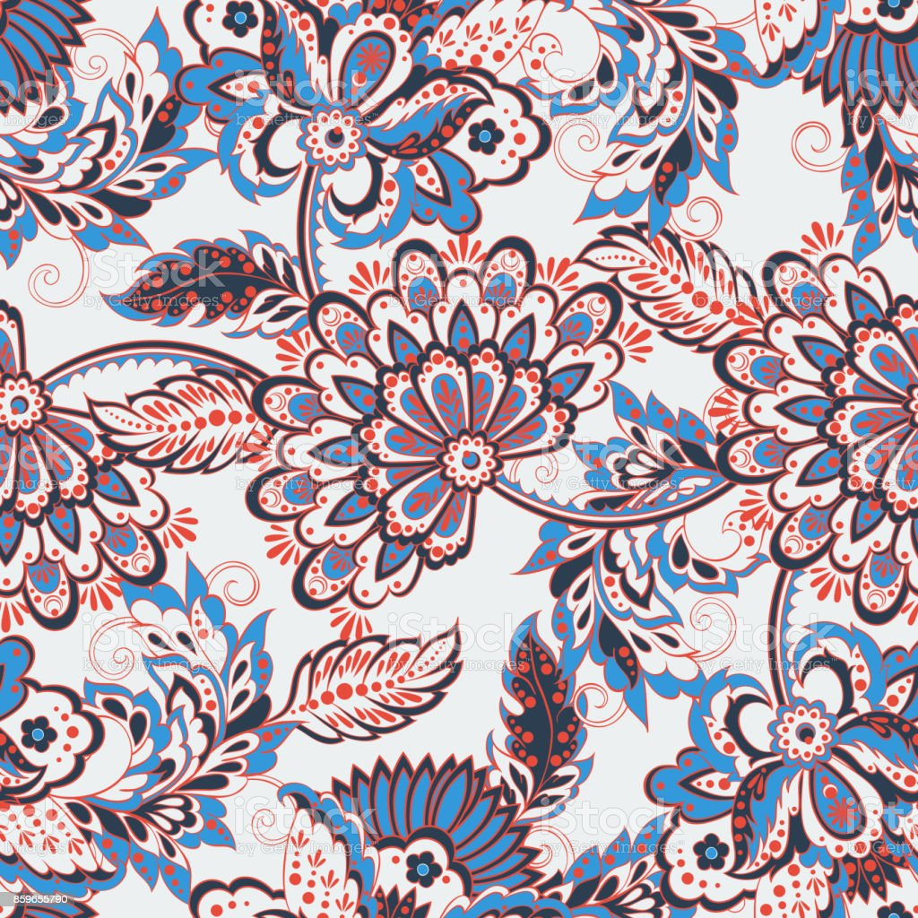 Vintage Pattern In Indian Batik Style Floral Vector