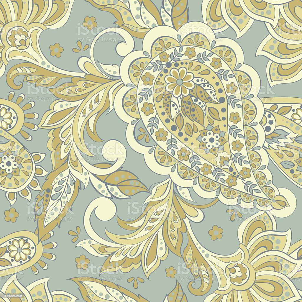 Vintage Pattern In Indian Batik Style Seamless Floral