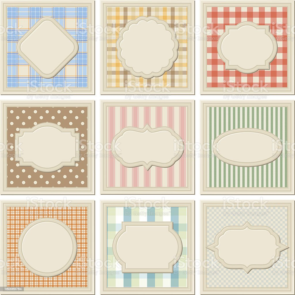 Vintage patterned card templates set. royalty-free stock vector art
