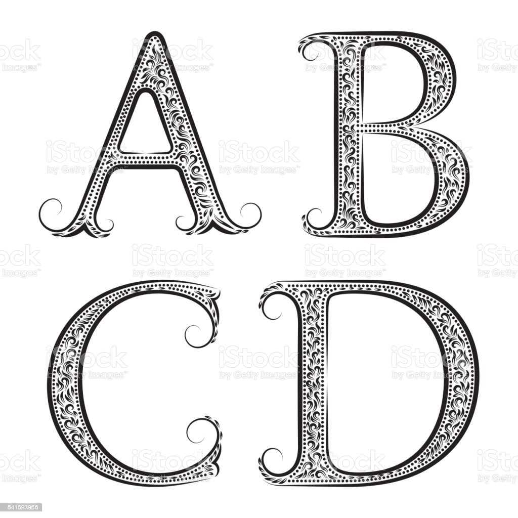 ABCD Vintage Patterned Letters Font In Floral Baroque Style Royalty Free Abcd