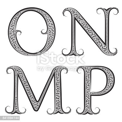 MNOP vintage patterned letters. Font in floral baroque style.