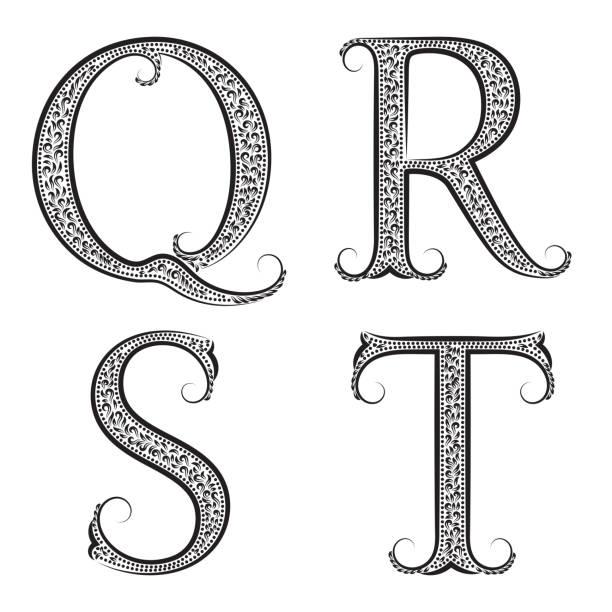 QRST Vintage Patterned Letters Font In Floral Baroque Style Vector Art Illustration