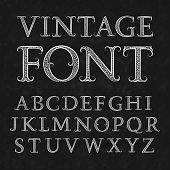 Vintage patterned letters. Vintage font in floral baroque style