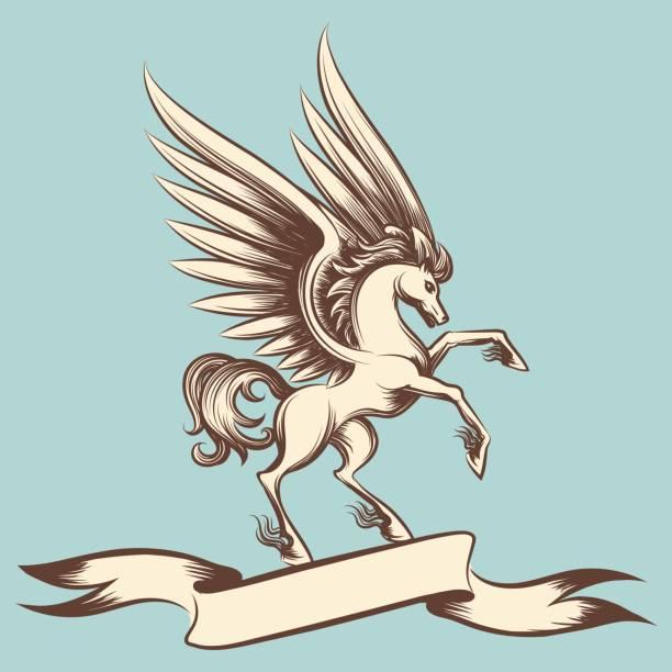illustrazioni stock, clip art, cartoni animati e icone di tendenza di vintage pegasus with wings and ribbon - ancient medical symbol