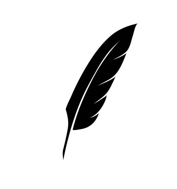 ilustrações de stock, clip art, desenhos animados e ícones de vintage pen feather writer symbol, literature icon, diary sign, black illustration, - tinteiro