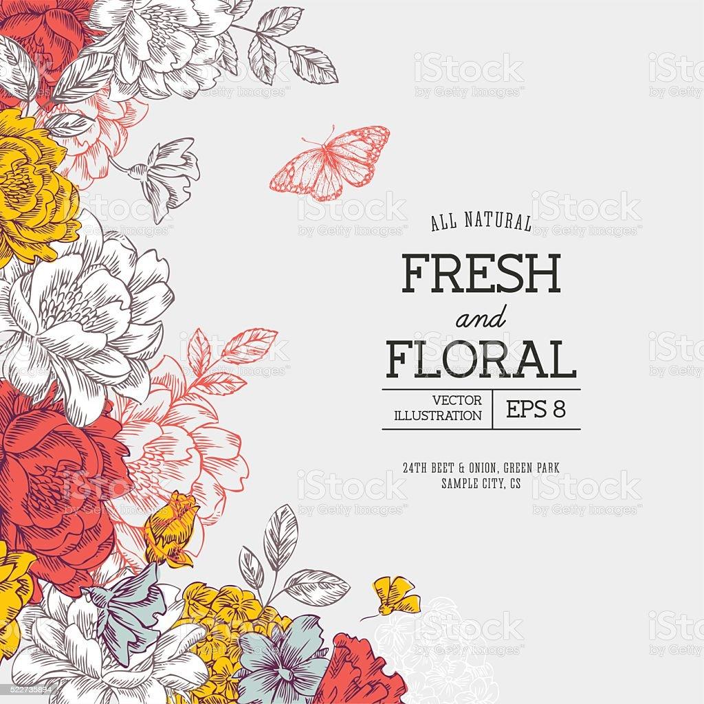 Vintage peony flower background. Flower design template. Vector illustration vektorkonstillustration