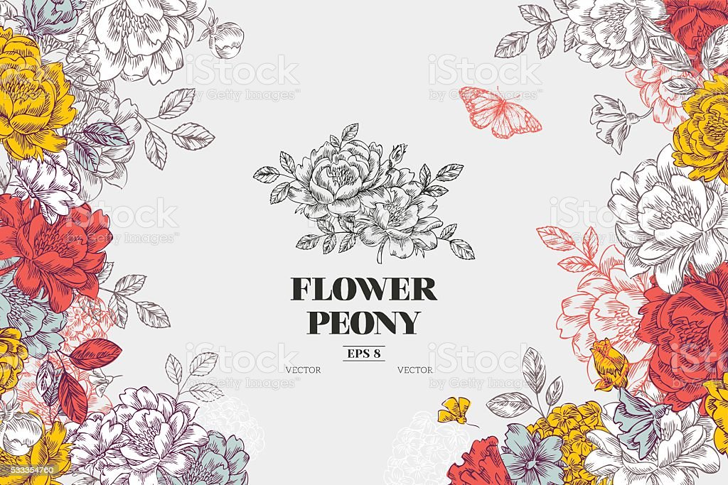 vintage peony flower background flower design template