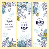 Vintage peony flower banner collection. Linear graphic floral banner set.