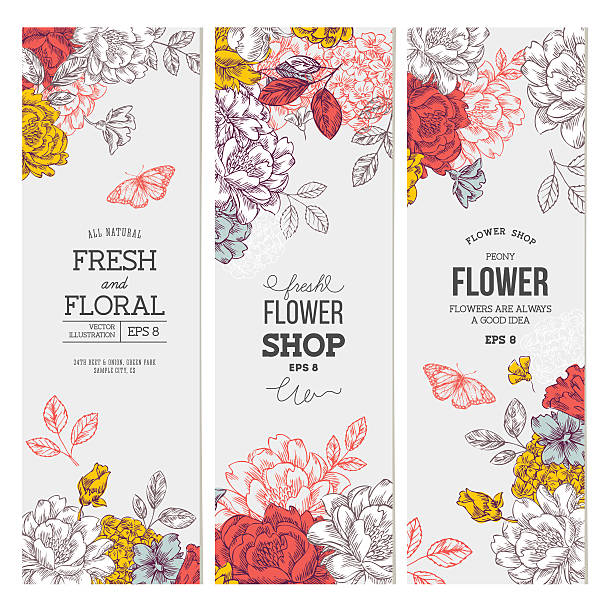 Vintage peony flower banner collection. Linear graphic floral banner set. EPS 8 single flower stock illustrations