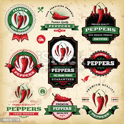 A collection of vintage styled pepper/chilli labels. EPS 10 file, layered & grouped, with meshes and transparencies (shadows & overall effects only).
