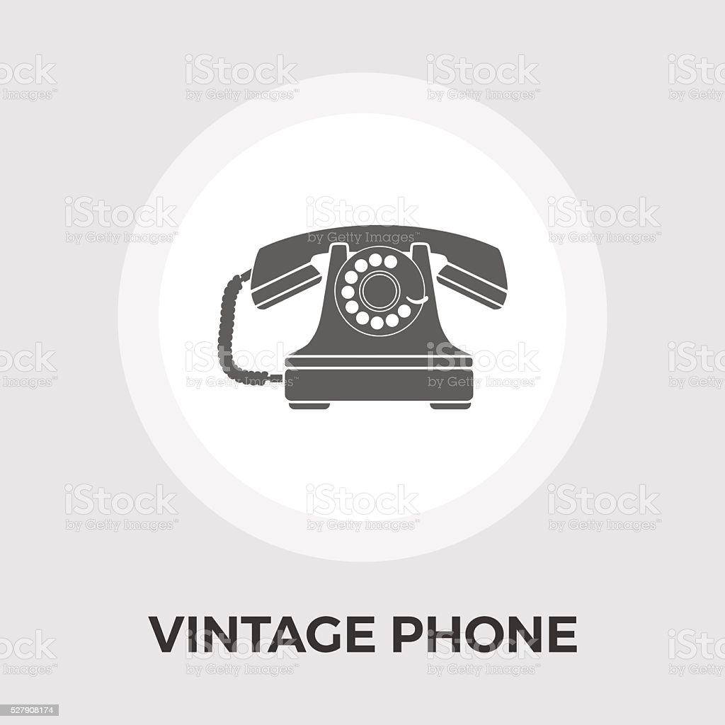 Vintage phone flat icon vector art illustration