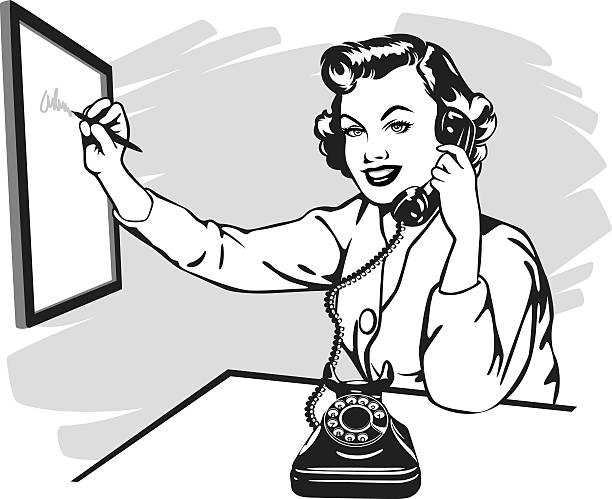 vintage phone secretary Woman making a phone call in retro style. switchboard operator vintage stock illustrations