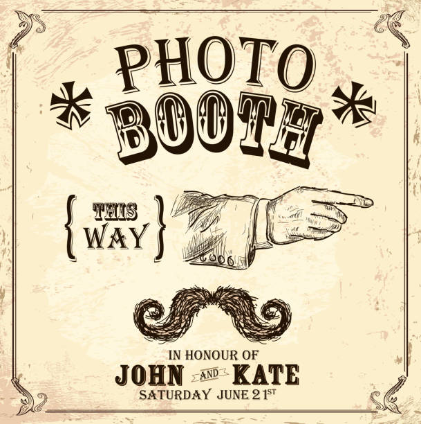 vintage photo booth design template on aged background - photo booth stock illustrations, clip art, cartoons, & icons