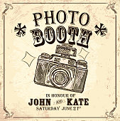 Vintage Photo booth design template with vintage camera. Sample text design and elements. Layers for easy editing.